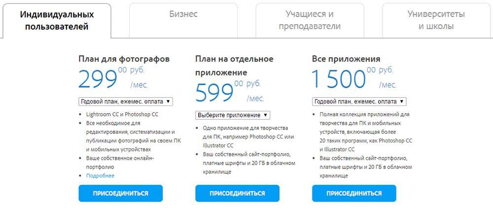 Тарифы Adobe Creative Cloud