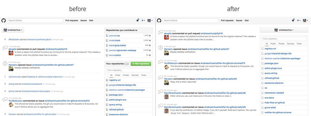 Полезные расширения для Google Chrome Refined GitHub